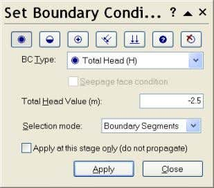 choose Total Head. Set the Total Head Value to − 2.5 m. Select all sections of