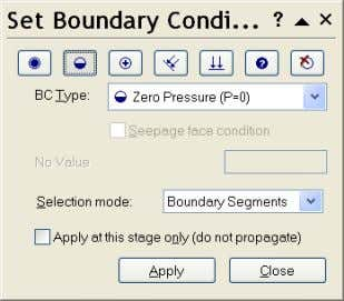 Boundary Conditions dialog, select BCType = Zero Pressure. Draw a window around the tunnel as described