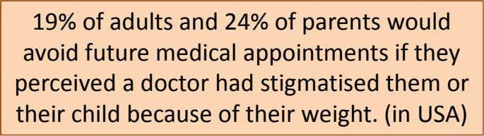 19% of adults and 24% of parents would avoid future medical appointments if they perceived