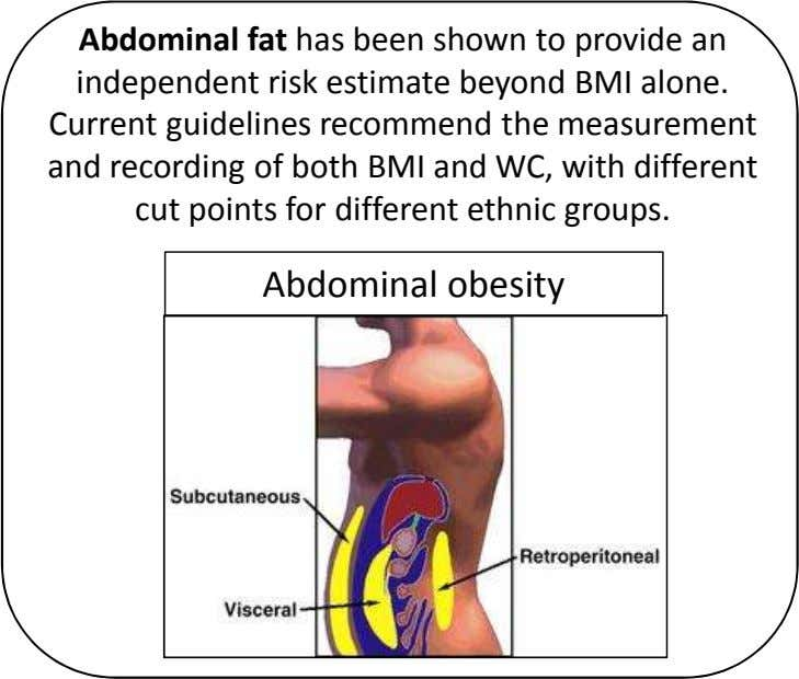 Abdominal fat has been shown to provide an independent risk estimate beyond BMI alone. Current