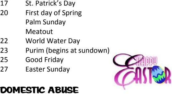 17 St. Patrick's Day 20 First day of Spring Palm Sunday Meatout 22 World Water Day