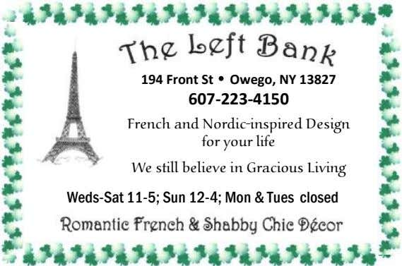 194 Front St • Owego, NY 13827 607-223-4150 French and Nordic-inspired Design for your life We