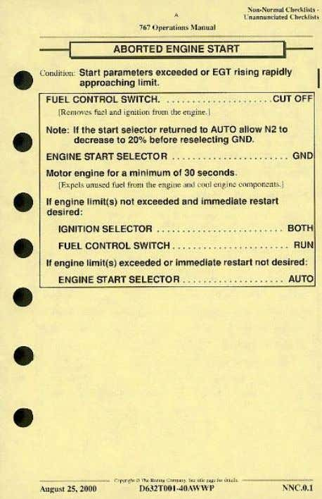 an engine when in fact they had a wheel well fire warning.) For those checklists which