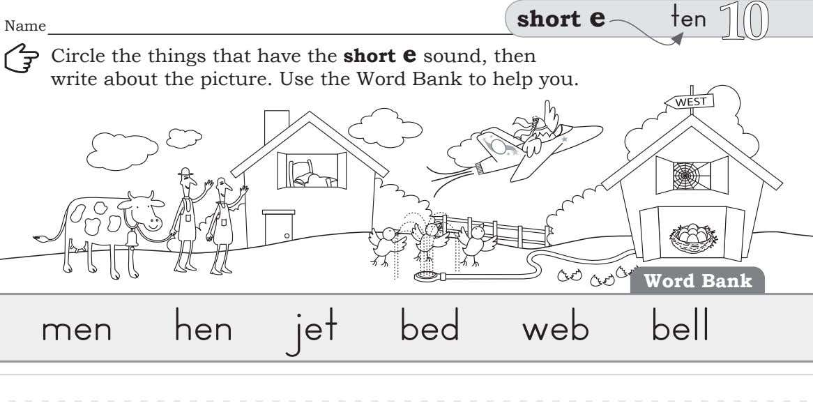 short e ten Name Circle the things that have the short e sound, then write