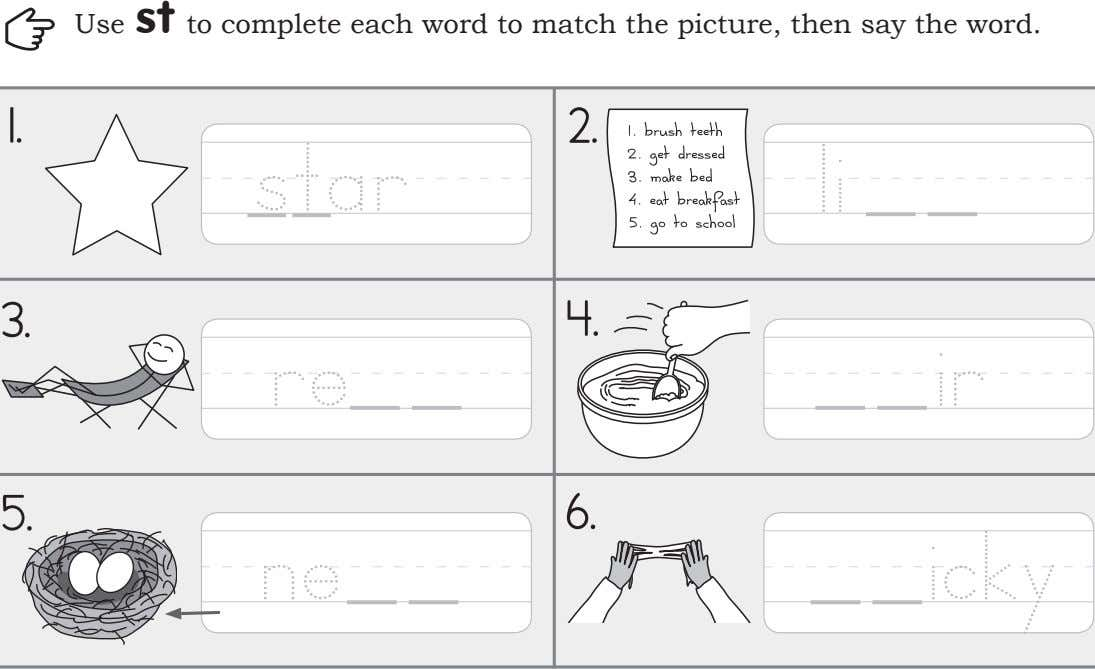 st Use to complete each word to match the picture, then say the word. 1.