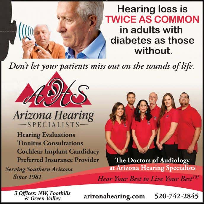 Hearing loss is TWICE AS COMMON in adults with diabetes as those without. Don't let