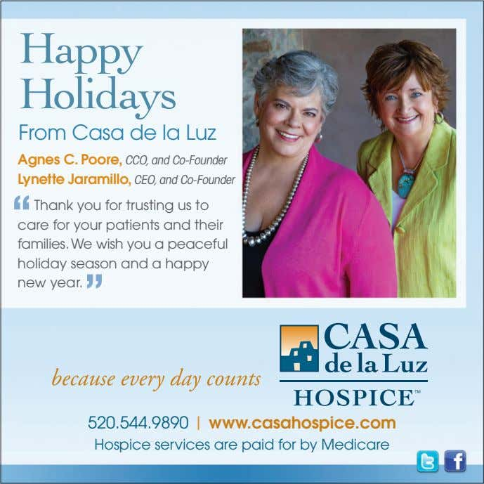 Happy Holidays From Casa de la Luz Agnes C. Poore, CCO, and Co-Founder Lynette Jaramillo,