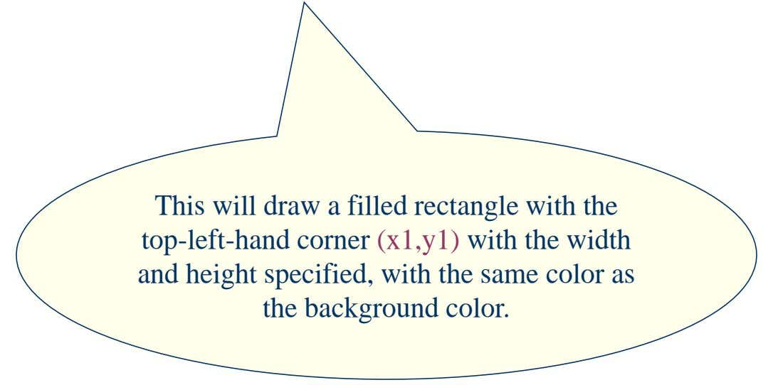 This will draw a filled rectangle with the top-left-hand corner (x1,y1) with the width and height