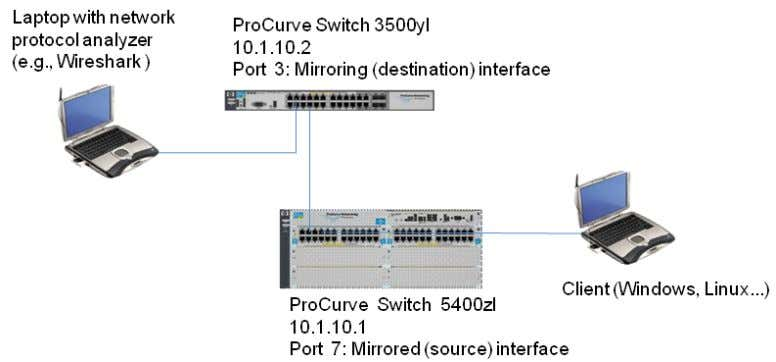 hardware configuration referenced in this application note. Figure 1. Setup for configuring remote mirroring and
