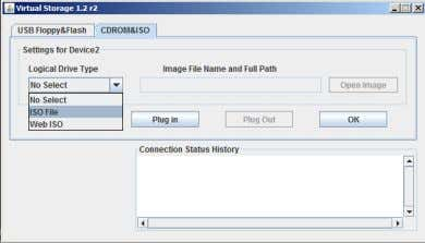 File from the Logical Drive Type field drop-down list. Figure: IPMI Virtual Storage Screen 9. In