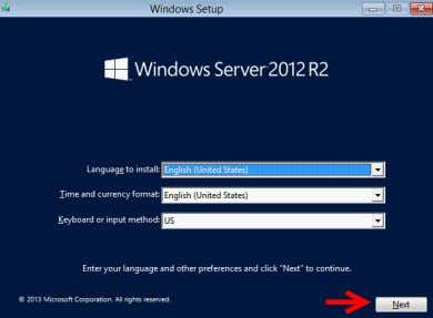 language selection screen, simply click the Next button. Figure: Hyper-V Language Screen 4. In the installation