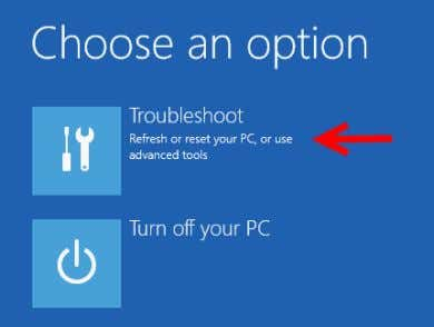 5. In the choose an option screen, select Troubleshoot . Figure: Hyper-V Choose Option Screen 6.