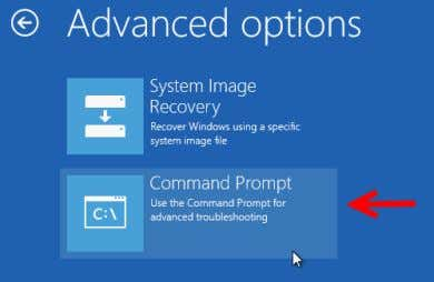 6. In the advanced options screen, select Command Prompt . Figure: Hyper-V Advanced Options Screen 7.