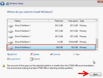installation location is Drive 6 Partition 2 in the example. Figure: Hyper-V Install Disk Screen The