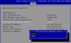 Enter , and then select Static in the pop-up window. Setting IPMI Static IP Address |