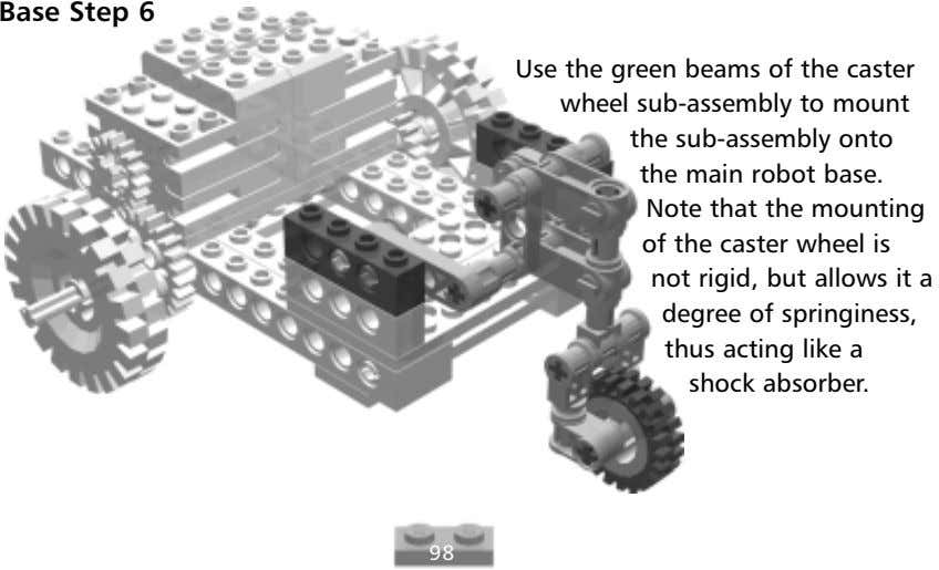 Base Step 6 Use the green beams of the caster wheel sub-assembly to mount the