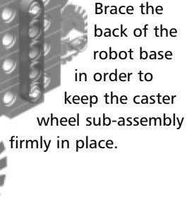 Brace the back of the robot base in order to keep the caster wheel sub-assembly
