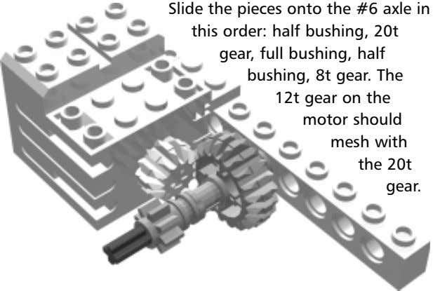 Slide the pieces onto the #6 axle in this order: half bushing, 20t gear, full