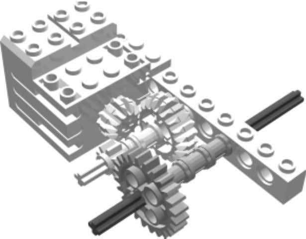 between the two drive sub-assemblies: The axle extends out to the left instead of the right.