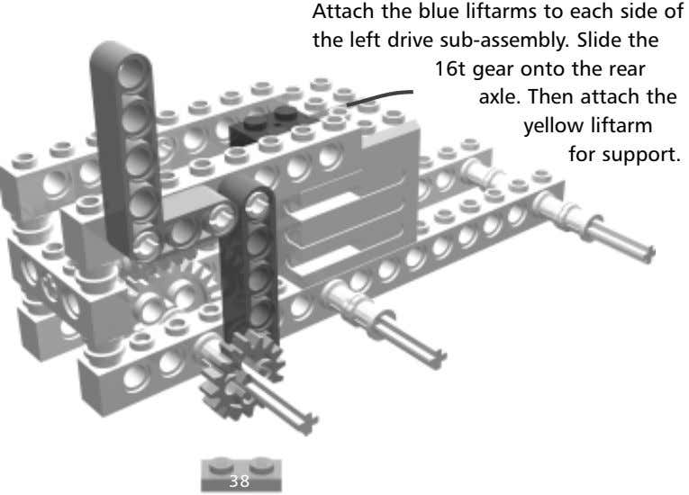 Attach the blue liftarms to each side of the left drive sub-assembly. Slide the 16t