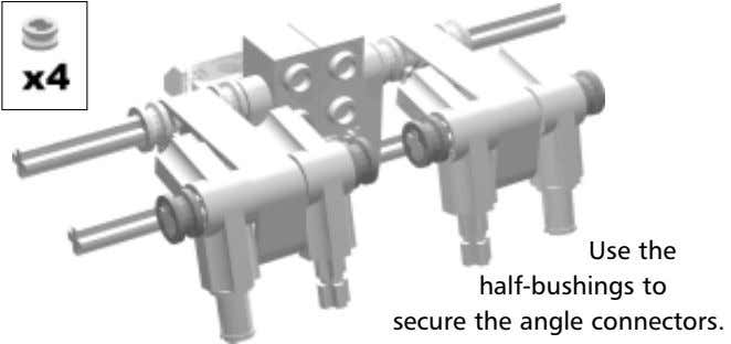 Use the half-bushings to secure the angle connectors.