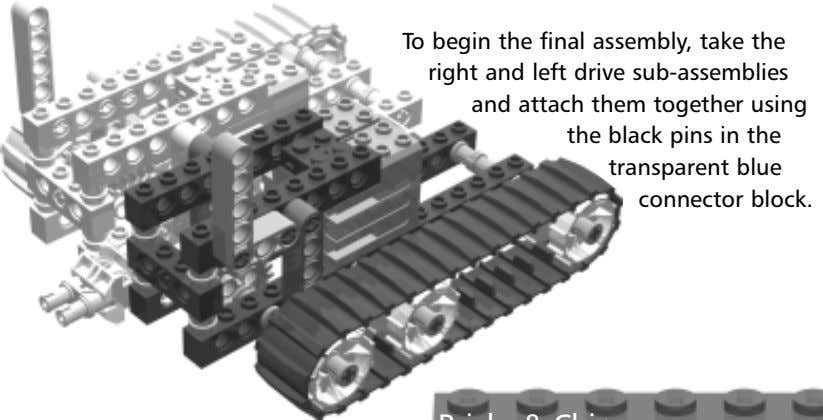 To begin the final assembly, take the right and left drive sub-assemblies and attach them