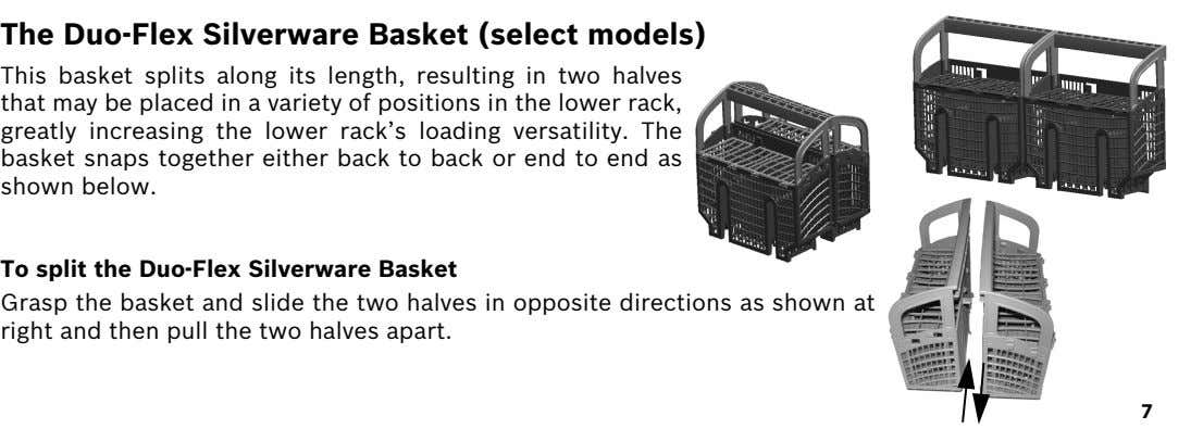 The Duo-Flex Silverware Basket (select models) This basket splits along its length, resulting in two
