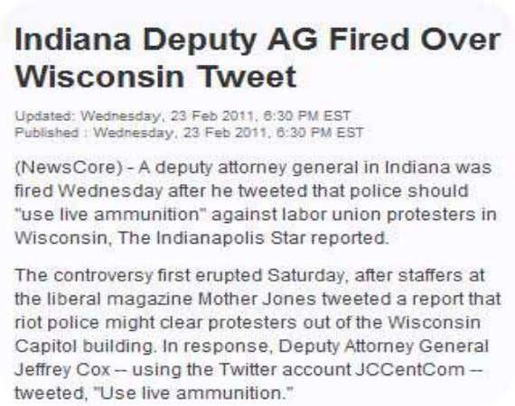"Tweeting ""Jokes"" • Indiana AG Fired over Tweet – ""use live ammunition"""