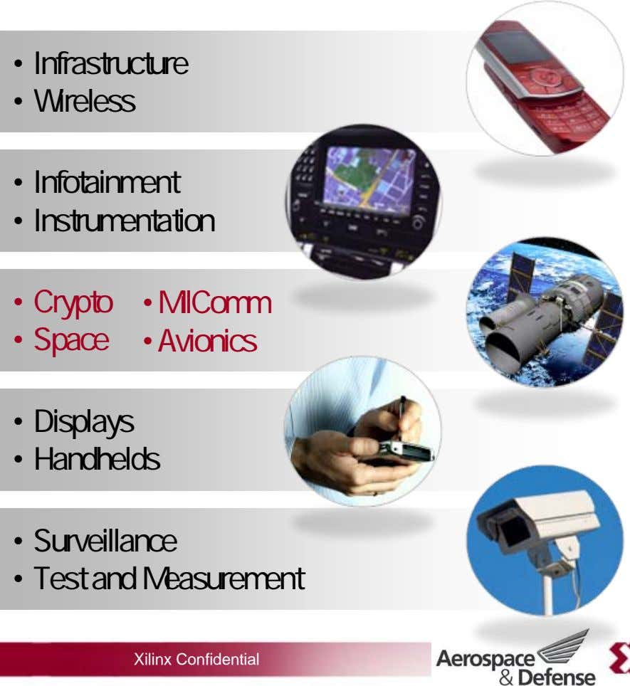 • Infrastructure • Wireless • Infotainment • Instrumentation • •• MilComm Crypto • • Avionics