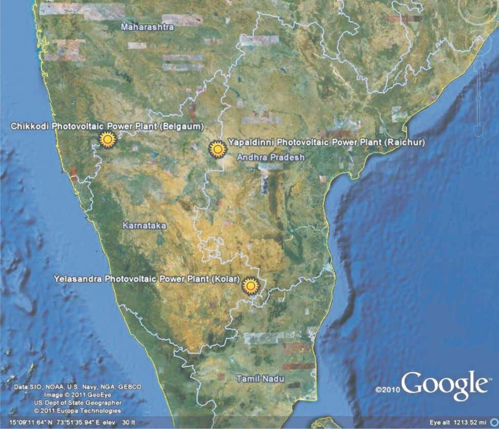3 Figure 2 : Karnataka map showing the locations of all the three 3MW Solar PV