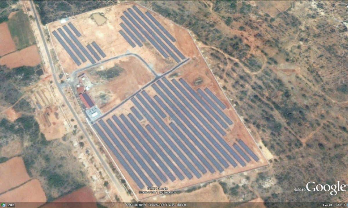 Satellite image of the 3-MW scale grid-connected solar photovoltaic power plant at Kolar, Karnataka