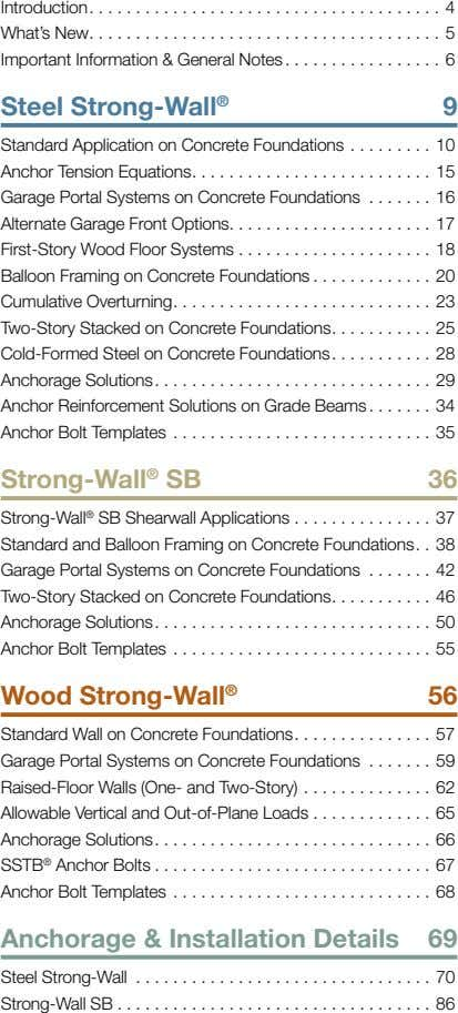 Introduction What's New Important Information & General Notes 4 5 6 Steel Strong-Wall ® 9