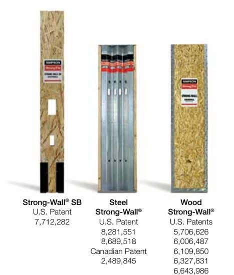 Strong‑Wall ® SB U.S. Patent Steel Wood Strong‑Wall ® Strong‑Wall ® 7,712,282 U.S. Patent U.S.