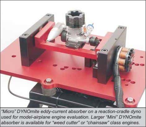 """Micro"" DYNOmite eddy-current absorber on a reaction-cradle dyno used for model-airplane engine evaluation. Larger"