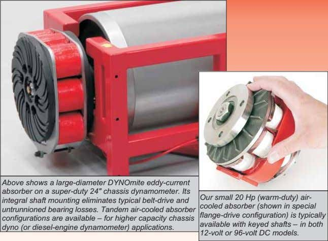 "Above shows a large-diameter DYNOmite eddy-current absorber on a super-duty 24"" chassis dynamometer. Its integral"