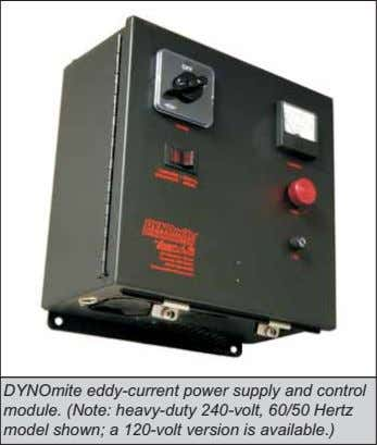DYNOmite eddy-current power supply and control module. (Note: heavy-duty 240-volt, 60/50 Hertz model shown; a