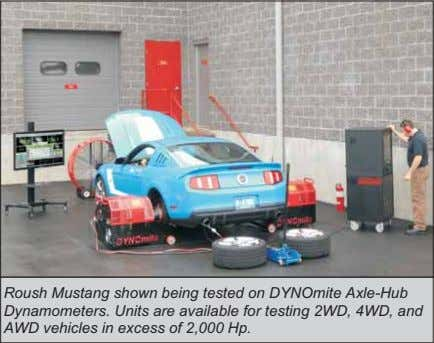 Roush Mustang shown being tested on DYNOmite Axle-Hub Dynamometers. Units are available for testing 2WD,