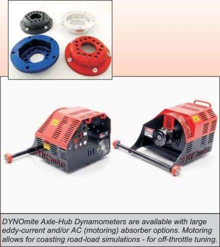 DYNOmite Axle-Hub Dynamometers are available with large eddy-current and/or AC (motoring) absorber options. Motoring