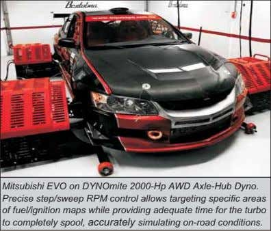 Mitsubishi EVO on DYNOmite 2000-Hp AWD Axle-Hub Dyno. Precise step/sweep RPM control allows targeting specific