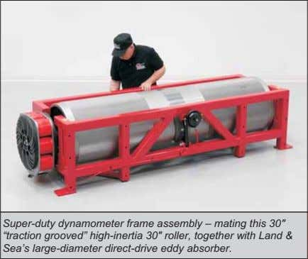 "Super-duty dynamometer frame assembly – mating this 30"" ""traction grooved"" high-inertia 30"" roller,"