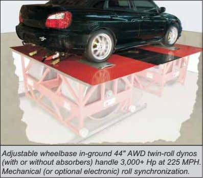 "Adjustable wheelbase in-ground 44"" AWD twin-roll dynos (with or without absorbers) handle 3,000+ Hp at"