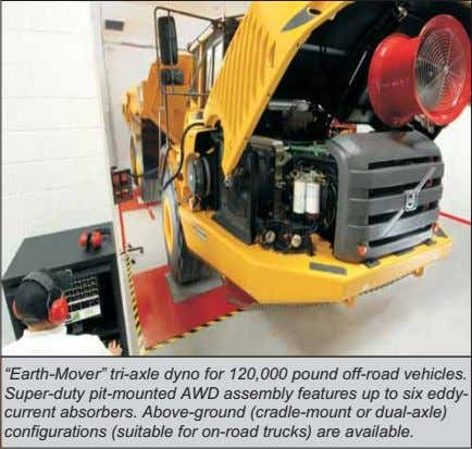 """Earth-Mover"" tri-axle dyno for 120,000 pound off-road vehicles. Super-duty pit-mounted AWD assembly features up to"