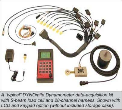 "A ""typical"" DYNOmite Dynamometer data-acquisition kit with S-beam load cell and 28-channel harness. Shown with"