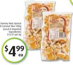 Yummy Nuts Apricot & Coconut Slice 400g (Local & Imported Ingredients) $12.47 per kg $