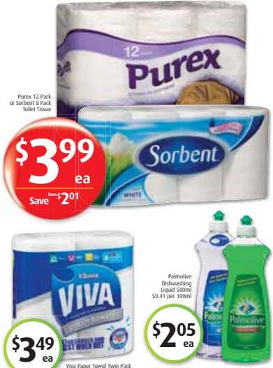 Purex 12 Pack or Sorbent 8 Pack Toilet Tissue $ 3 99 ea Save from