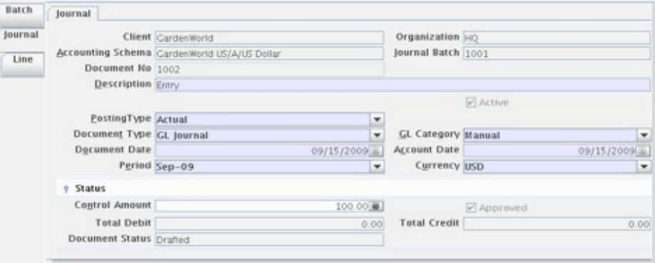 Figure 2.4 - Filling in the Control Amount 8. Go to the Line tab. 9. Click