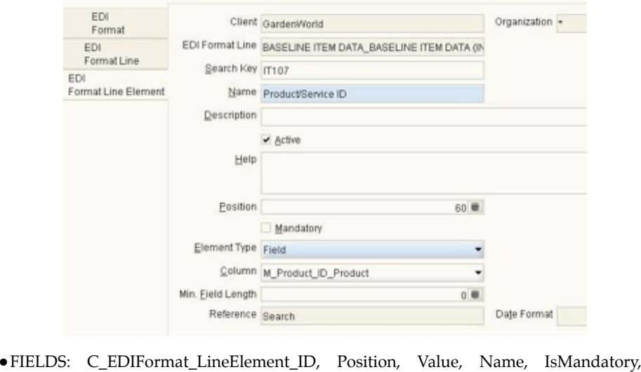 • FIELDS: C_EDIFormat_LineElement_ID, Position, Value, Name, IsMandatory,