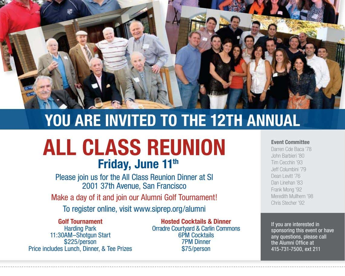 yOU ARE INvITED TO THE 12TH ANNUAL ALL CLASS REUNION Friday, June 11 th Please