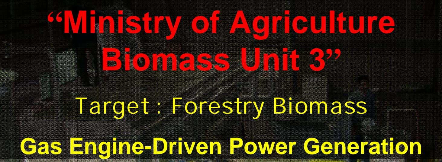 """ Ministry of Agriculture Biomass Unit 3"" Target : Forestry Biomass Gas Engine-Driven Power Generation"