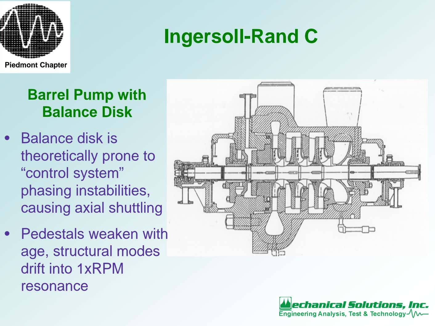 Ingersoll-Rand C Piedmont Chapter Barrel Pump with Balance Disk • Balance disk is theoretically prone
